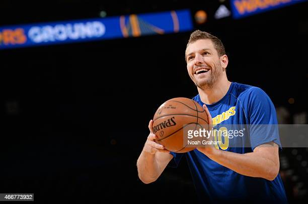David Lee of the Golden State Warriors warms up before a game against the Atlanta Hawks on March 18 2015 at Oracle Arena in Oakland California NOTE...