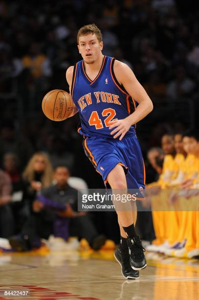 David Lee of the New York Knicks dribbles during the game against the Los Angeles Lakers on December 16 2008 at Staples Center in Los Angeles...