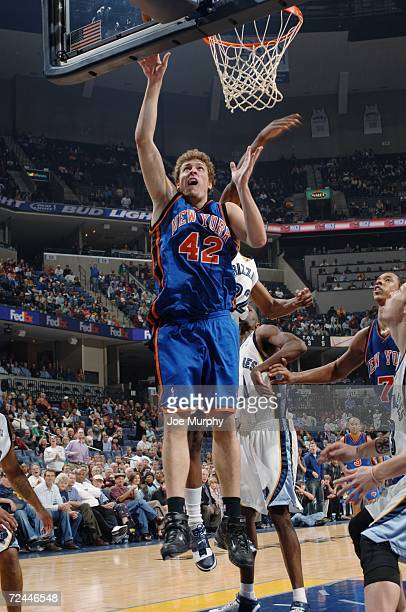 David Lee of the New York Knicks goes to the basket against the Memphis Grizzlies on November 1 2006 at FedExForum in Memphis Tennessee The Knicks...