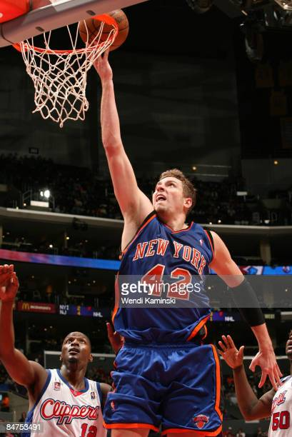 David Lee of the New York Knicks goes up for a shot against the Los Angeles Clippers at Staples Center on February 11 2009 in Los Angeles California...