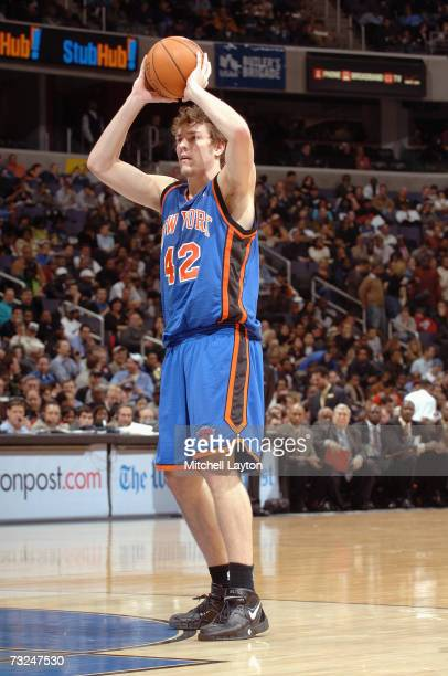 David Lee of the New York Knicks holds the ball against the Washington Wizards during the game at the Verizon Center on January 17 2007 in Washington...