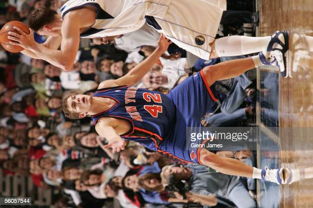 David Lee of the New York Knicks plays defense during the preseason game against the Dallas Mavericks at American Airlines Arena on October 21 2005...