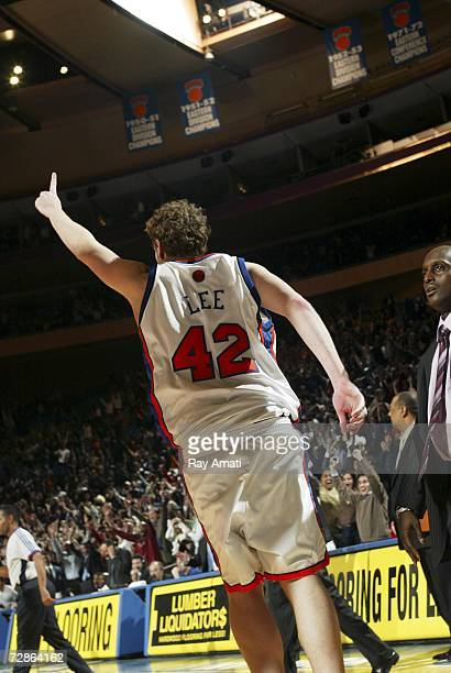 David Lee of the New York Knicks reacts to scoring the winning basket in the 2nd overtime against the Charlotte Bobcats game on December 20 2006 at...