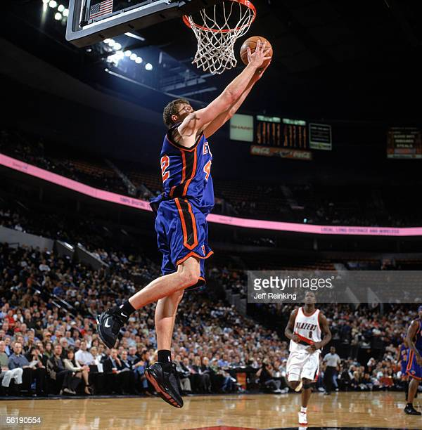 David Lee of the New York Knicks takes the ball to the basket during a game against the Portland Trail Blazers at The Rose Garden on November 9 2005...