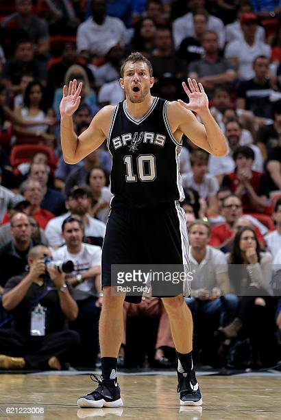 David Lee of the San Antonio Spurs gestures during the game against the Miami Heat at American Airlines Arena on October 30 2016 in Miami Florida