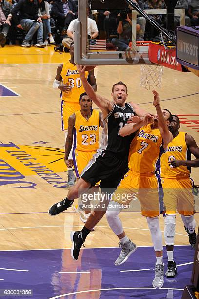 David Lee of the San Antonio Spurs goes up for a lay up against the Los Angeles Lakers on November 18 2016 at STAPLES Center in Los Angeles...