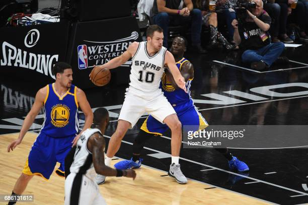 David Lee of the San Antonio Spurs handles the ball against the Golden State Warriors in Game Three of the Western Conference Finals of the 2017 NBA...
