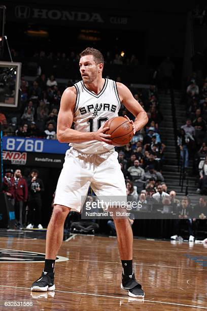 David Lee of the San Antonio Spurs handles the ball against the Brooklyn Nets during the game on January 23 2017 at Barclays Center in Brooklyn New...