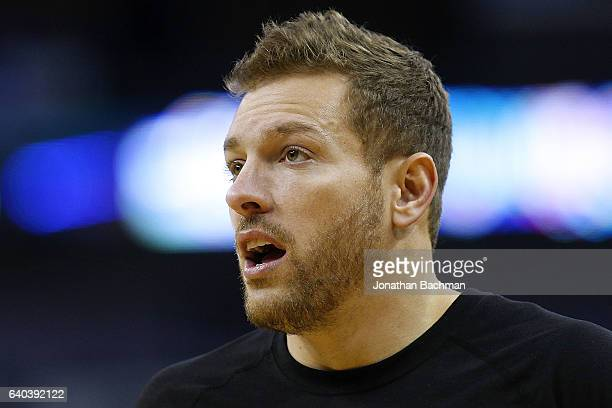 David Lee of the San Antonio Spurs reacys before a game against the New Orleans Pelicans at the Smoothie King Center on January 27 2017 in New...