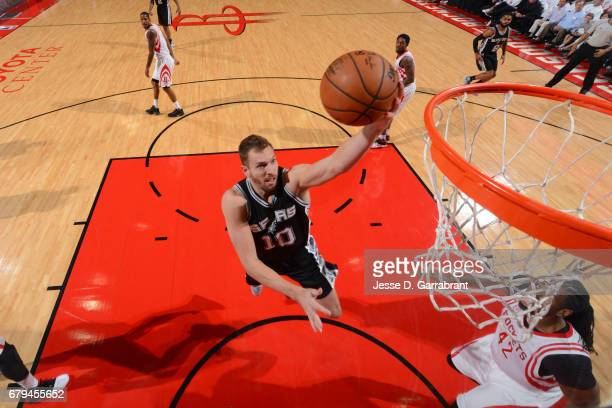 David Lee of the San Antonio Spurs shoots the ball against the Houston Rockets in Game Three of the Western Conference Semifinals of the 2017 NBA...