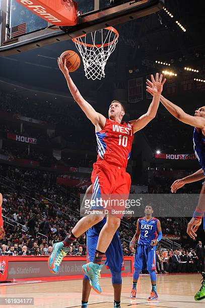 David Lee of the Western Conference AllStars attempts a shot during the 2013 NBA AllStar Game on February 17 2013 at Toyota Center in Houston Texas...