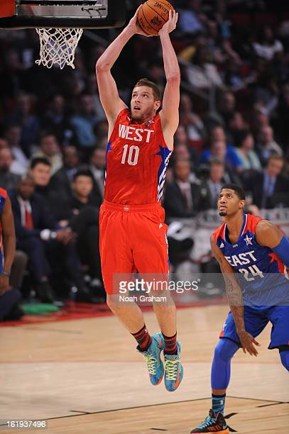 David Lee of the Western Conference AllStars dunks against the Eastern Conference AllStars during the 2013 NBA AllStar Game presented by Kia on...