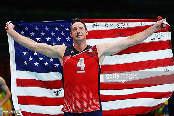 David Lee of United States celebrates as the United States secure the bronze medal during the Men's Bronze Medal Match between United States and...