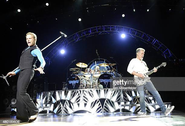 David Lee Roth Alex Van Halen and Eddie Van Halen of Van Halen perform at Concord Pavilion on July 9 2015 in Concord California
