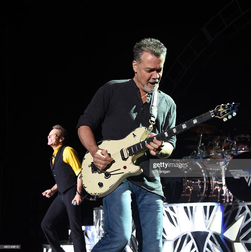 David Lee Roth and Eddie Van Halen of Van Halen perform at Shoreline Amphitheatre on July 16, 2015 in Mountain View, California.