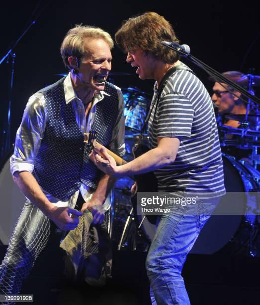 David Lee Roth Eddie Van Halen and Alex Van Halen of Van Halen perform during their A Different Kind of Truth tour at KFC YUM Center on February 18...