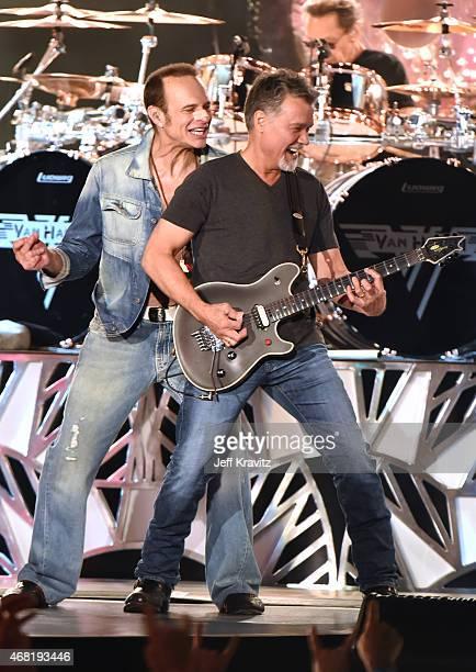 David Lee Roth Eddie Van Halen and Alex Van Halen of Van Halen performs on March 30 2015 in Hollywood California