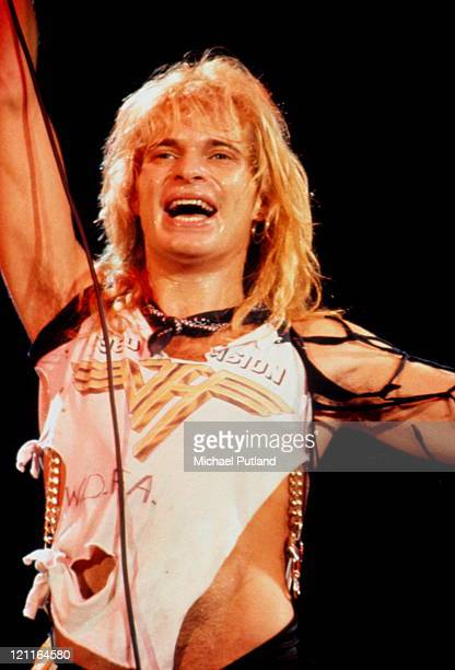 David Lee Roth of Van Halen performs on stage circa 1982