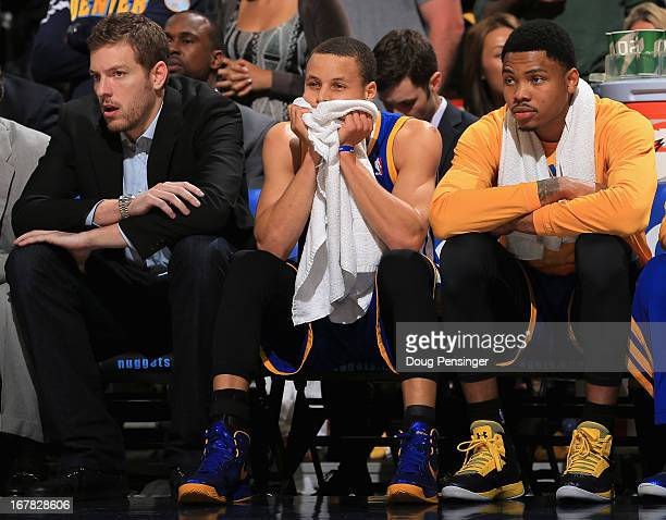 David Lee Stephen Curry and Kent Bazemore of the Golden State Warriors during Game Five of the Western Conference Quarterfinals of the 2013 NBA...