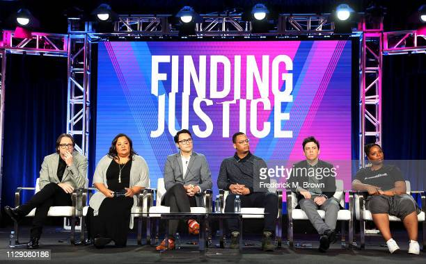 David Leepson Dream Hampton Aaron Rice Kevin Hill guest panelist Patrisse Cullors of the television show Finding Justice speak during the BET segment...