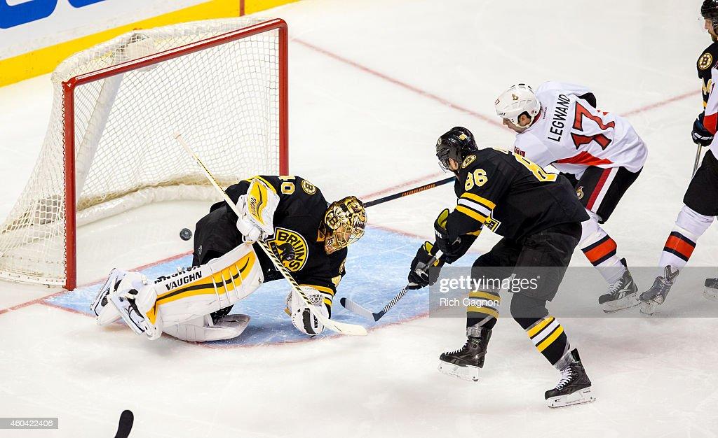 David Legwand #17 of the Ottawa Senators scores a goal on Tuukka Rask #40 of the Boston Bruins during the third period of an NHL hockey game on December 13, 2014 at TD Garden in Boston, Massachusetts.