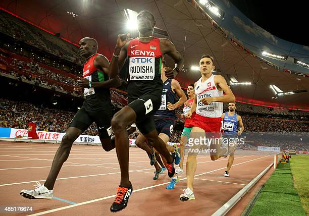 David Lekuta Rudisha of Kenya beats Adam Kszczot of Poland to win gold in the Men's 800 metres final during day four of the 15th IAAF World Athletics...