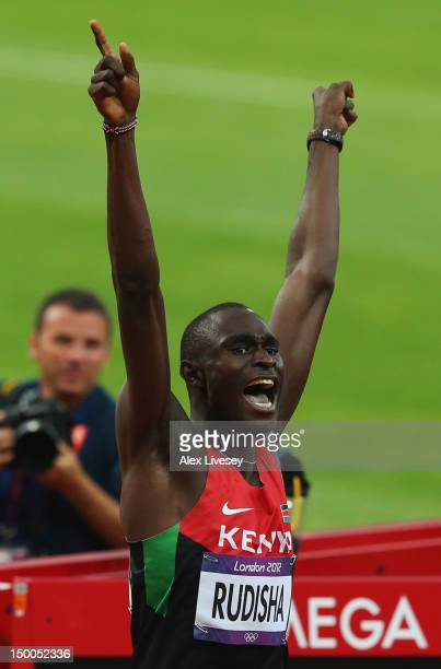 David Lekuta Rudisha of Kenya celebrates after winning gold and setting a new world record in the Men's 800m Final on Day 13 of the London 2012...