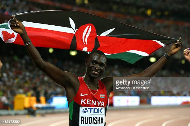 David Lekuta Rudisha of Kenya celebrates after winning gold in the Men's 800 metres final during day four of the 15th IAAF World Athletics...