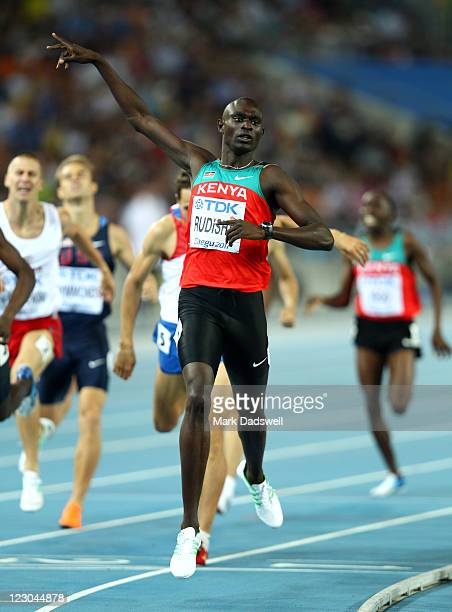David Lekuta Rudisha of Kenya celebrates claiming gold in the men's 800 metres final during day four of the 13th IAAF World Athletics Championships...