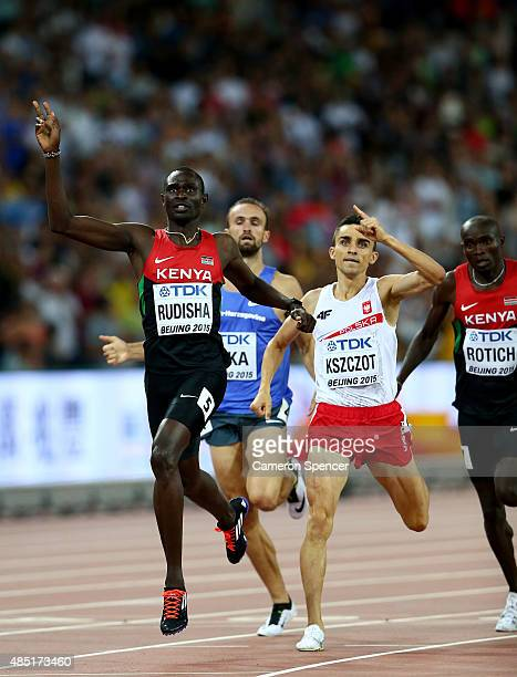 David Lekuta Rudisha of Kenya crosses the finish line to win gold in the Men's 800 metres final during day four of the 15th IAAF World Athletics...