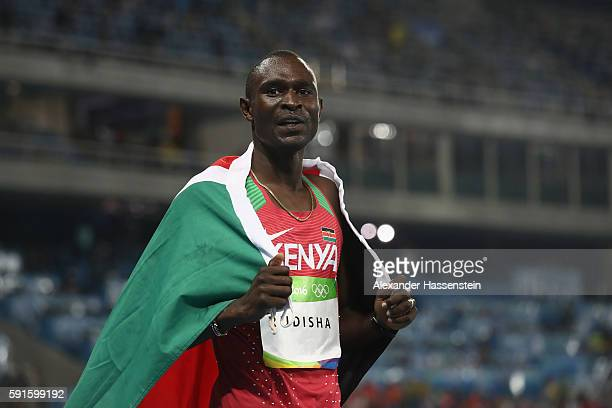 David Lekuta Rudisha of Kenya leads the celebrates after winning the gold medal in the Men's 800m Final on Day 10 of the Rio 2016 Olympic Games at...