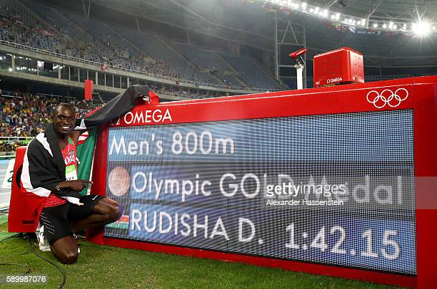 David Lekuta Rudisha of Kenya poses after winning the gold medal in the Men's 800m Final on Day 10 of the Rio 2016 Olympic Games at the Olympic...