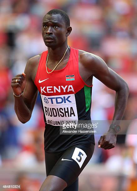 David Lekuta Rudisha of Kenya reacts after competing in the Men's 800 metres heats during day one of the 15th IAAF World Athletics Championships...