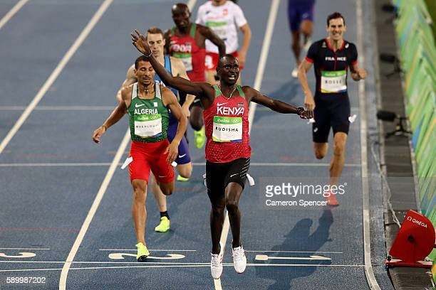 David Lekuta Rudisha of Kenya reacts after winning the gold medal in the Men's 800m Final on Day 10 of the Rio 2016 Olympic Games at the Olympic...
