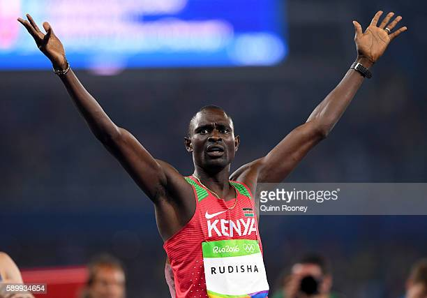 David Lekuta Rudisha of Kenya reacts after winning the Men's 800m Final on Day 10 of the Rio 2016 Olympic Games at the Olympic Stadium on August 15...