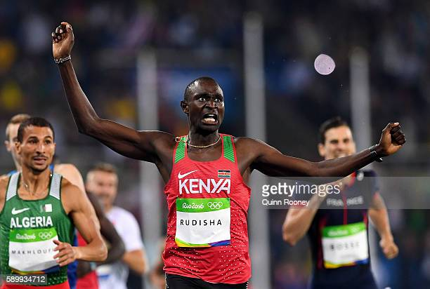 David Lekuta Rudisha of Kenya reacts as he wins the Men's 800m Final on Day 10 of the Rio 2016 Olympic Games at the Olympic Stadium on August 15 2016...