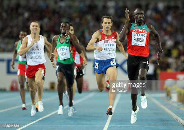 David Lekuta Rudisha of Kenya sprints for the finish line to claim gold ahead of Marcin Lewandowski of Poland Abubaker Kaki of Sudan and Yuriy...