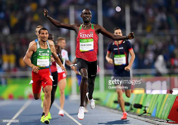 David Lekuta Rudisha of Kenya wins the Men's 800m Final on Day 10 of the Rio 2016 Olympic Games at the Olympic Stadium on August 15 2016 in Rio de...