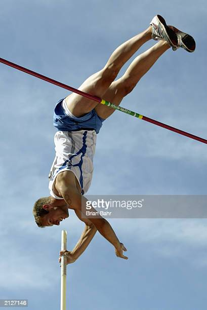 David Leman competes in the decathlon pole vault during the USA Outdoor Track and Field Championships at Stanford University's Cobb Track and Angell...