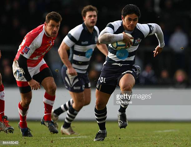 David Lemi of Bristol breaks away to scores a try during the European Challenge Cup match between and Montpellier at the Memorial Stadium on January...