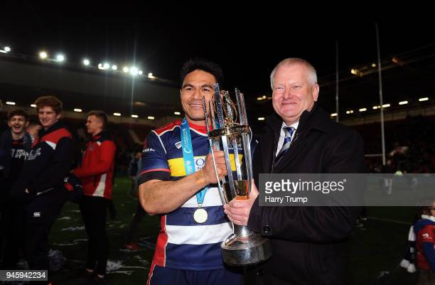 David Lemi of Bristol Rugby poses with the trophy with Bristol Rugby CEO Steve Lansdown during the Greene King IPA Championship match between Bristol...