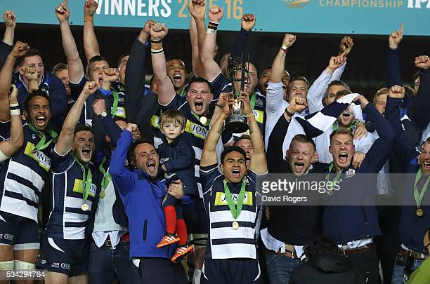 David Lemi the Bristol captain raises the trophy after their victory during the Greene King IPA Championship Play Off Final second leg match between...