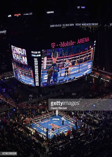 David Lemieux celebrates after defeating Glen Tapia at the NABO middleweight title fight at TMobile Arena on May 7 2016 in Las Vegas Nevada Lemieux...