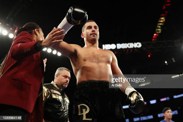 David Lemieux celebrates after knocking out Gary O'Sullivan in the first round during their middleweight bout at TMobile Arena on September 15 2018...