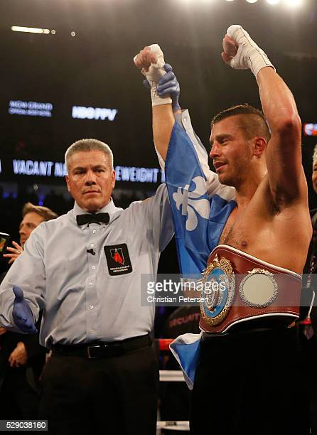 David Lemieux celebrates with his NABO middleweight title belt after his TKO win over Glen Tapia during the NABO middleweight title fight at TMobile...