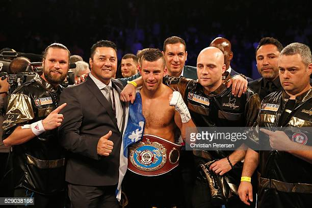 David Lemieux celebrates with his NABO middleweight title belt after his win during the NAO middleweight title fight at TMobile Arena on May 7 2016...