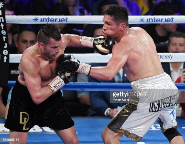 David Lemieux hits Marcos Reyes with a left in the fourth round of their middleweight bout on May 6 2017 in Las Vegas Nevada Lemieux won by unanimous...