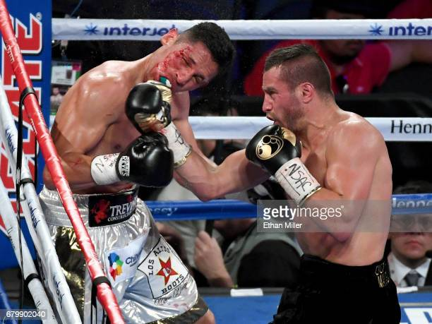 David Lemieux hits Marcos Reyes with a right in the third round of their middleweight bout on May 6 2017 in Las Vegas Nevada Lemieux won by unanimous...