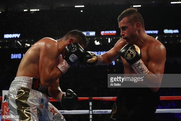 David Lemieux punches Marcos Reyes during their middleweight bout at TMobile Arena on May 6 2017 in Las Vegas Nevada