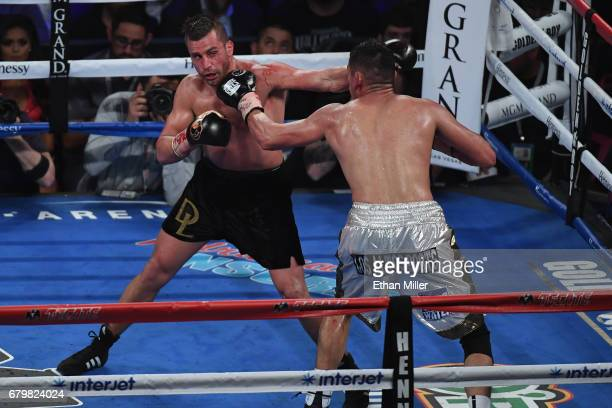 David Lemieux punches Marcos Reyes during their middleweight bout at TMobile Arena on May 6 2017 in Las Vegas Nevada Lemieux won by unanimous decision